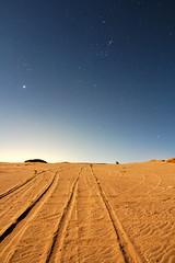 Tracks to Orion (lrargerich) Tags: sky sand nightscape dunes tracks nebula astrophotography orion m42 planet astronomy jupiter taurus aldebaran