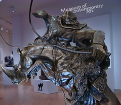 HIPPO-BOY upon RHINO-HORSE into virtual MUSEUM (The PIX-JOCKEY (visual fantasist)) Tags: sculpture art animal statue museum photoshop cowboy joke fake humour rhino photomontage chop hippo sculptural fotomontaggi robertorizzato pixjockey