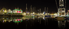 Inner Harbour Pano Dec 2012-001 (allanshookphoto) Tags: ocean christmas panorama black reflection water night sailboat boats lights wench