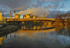 Ferrybridge Power station from the River Aire (jasonmgabriel) Tags: bridge trees chimney reflection station clouds sunrise river power path towers pylon aire tow cooling ferrybridge