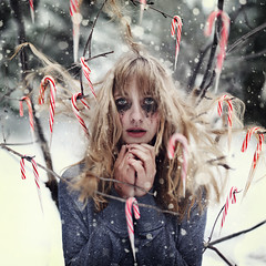 The Killer Christmas. (David Talley) Tags: christmas snow cane dark candy crying makeup killer snowing candycane textureby~funnybunny~ondeviantart