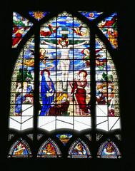 Stained glass window over the altar - Eglise Saint-Jean de Montmartre, Paris (Monceau) Tags: eglisesaintjeandemontmartre montmartre church crucifixion stainedglass window