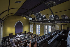 Open house (Kriegaffe 9) Tags: chaple church crumbling decay yellow purple pews arches windows
