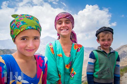Children at the top of Ghoitan Pass, Fann Mountains, Tajikistan.