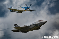 F-35A Lightning II and P-51D Mustang (Aaron Pattison) Tags: riat royalinternationalairtattoo airtattoo airshow redarrows plane vehicle flying flypast military defence aeroplane aerobatics fighter jet global international fairford raf flight wings speed fast outdoors afterburner f35b lightning lockheed martin vtol stovl royal navy us marines rollsroyce lockheedmartinf35alightningii f35a p51d mustang misshelen helen world war worldwar 2016 aviation canon display flyingdisplay riat2016