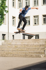 Sancho, 50-50 (Fabio Stoll) Tags: sonya99 zeiss85mmf14 metzflash godoxad360 pixelkingtriggers sony a99 zeiss 85mm f14 metz flash godox ad360 pixelking triggers grind skateboarding skate skatephotography closeup switzerland swiss basel sport sprung skating outdoor 5050