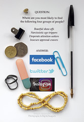 """SOCIAL MEDIA ACTIVITY"" (dppdi (2003-2016)) Tags: photographershome cheshire england uk satiricalviewofsocialmedia joke humour facebook twitter instagram showoffs egotrippers attentionseekers approvalcravers pen paperclip beadednecklace elasticband eraser £1coin 50pcoin clip drawingpin narcissism lowselfesteem"