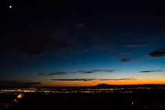albuquerque sunset (Eric Baggett) Tags: albuquerque newmexico sunset blue orange black moon stars cityscape skyline summer sandiamountainview enchantment magical nature longexposure