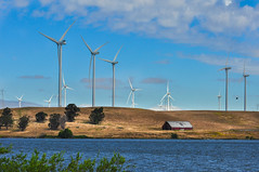 Wind Turbines (champbass2) Tags: california usa windfarm windturbines bluecloudedsky carquinezstrait antioch montezumahills riovista alternativeenergy windpower barn