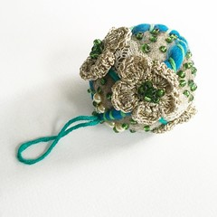 My new blue Christmas decoration (vihrarowe) Tags: christmas bauble handmade pure wool felt felted embroidery crochet grandmothers vintage lace balls craft gift home decoration tree