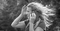 Storm Call (Emil de Jong - Kijklens) Tags: willemsoord portret portrait blackandwhite zwartwit phone cell cellphone gsm telefoon telefoongesprek haren hair haar tegenlicht backlight light ligt vrouw woman girl meisje kijklens people