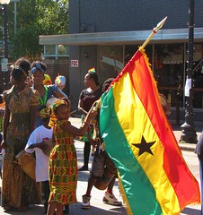 Ghana's Flag (Gerry Dincher) Tags: internationalfolkfestival fayetteville cumberlandcounty northcarolina marketsquare personstreet haystreet multicultural folk colorful boldcolors brightcolors international ghanian ghana african tradtional tradtion flagofghana