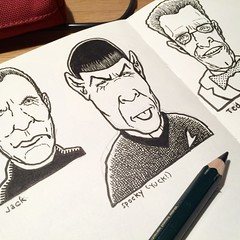 Spock yuck. (Don Moyer) Tags: spock ink drawing moleskine notebook moyer donmoyer brushpen yuck face faces sketchbook