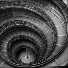 The Spiral Stairs of Vatican, Rome, Italy (II) :: HDR (Artie | Photography :: I'm a lazy boy :)) Tags: city bw italy white black vatican rome glass architecture photoshop canon square spiral wideangle structure ceiling fisheye handheld hexagon 15mm f28 ef hdr spiralstairs artie cs3 lightings 3xp photomatix tonemapping tonemap 5dmarkii 5dm2