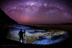 Australia (john white photos) Tags: ocean shadow sea nature water night stars coast rocks photographer tripod australian australia coastal southaustralia milkyway eyrepeninsula