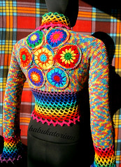 Funky Rainbow Shrug With Crochet Mandala Applique (babukatorium) Tags: pink blue red orange color green art net wool fashion yellow circle sweater rainbow colorful warm purple recycled handmade turquoise oneofakind crochet moda violet knit style mandala hexagon hippie knitted psychedelic applique arcobaleno embellished cardigan bohemian multicolor shrug striped whimsical darkblue bolero haken hkeln emeraldgreen croch grannysquares ganchillo royalblue fuxia uncinetto  coprispalle tii horgolt babukatorium