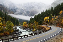 Up The Road & Down The River (Stephen Kacirek) Tags: autumn color leaves river highway colorful overcast leavenworth northcascades autumncolor d600 highway2 tumwatercanyon nikond600