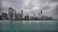 Gray Skies, Green Lake (Seth Oliver Photographic Art) Tags: chicago landscapes iso200 illinois nikon midwest skyscrapers lakes cities cityscapes lakemichigan pinoy downtownchicago johnhancockbuilding circularpolarizer chicagoskyline urbanscapes secondcity windycity chicagoist rivereast d90 handheldshot 16x9crop aperturef80 manualmodeexposure cityofbigshoulder setholiver1 1024mmtamronuwalens streetervilleneighborhood 1200secondexposure