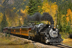 Durango & Silverton Railroad (Thad Roan - Bridgepix) Tags: railroad autumn fall colors train photo colorado image silverton smoke picture steam locomotive durango railfan hdr thad roan facebook d800 201209