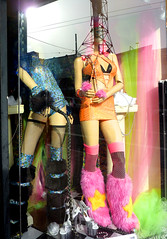 FURRY BOOTS (Lulu Vision) Tags: sanfrancisco pink blue costumes girls orange colors fashion fur store clothing shoes colorful downtown mannequins boots whip shopwindow shopfront kneesocks furboots tendernob polkgulch silverheels furcuffs trannystore