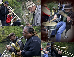 Members Of Bob Stewart Quintet Playing In Central Park (Jazz & Colors-jazzandcolors.com) (nrhodesphotos(the_eye_of_the_moment)) Tags: music collage metal musicians reeds drums pond centralpark candid trumpet trombone tuba instruments sax brass pbs petershapiro thegalaxy 111012 nrhodesphotosyahoocom wwwflickrcomphotostheeyeofthemoment jazzcolors bobstewartquintet 105nhr jazzandcolorscom