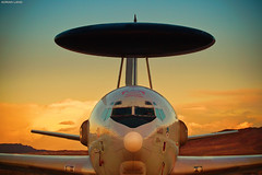 Watchful Guardian (~Clubber~) Tags: sunset airplane flying dusk aircraft aviation military nevada flight airforce usaf awacs nellisafb rc135