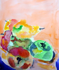Fruits 02, by Carlos (Dona Mincia) Tags: stilllife food art apple fruit watercolor painting paper comida fruta alimento study pear ma aquarela pera naturezamorta