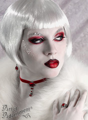 Fire & Ice (Art of Adornment ~ Victorian Gothic Jewelry) Tags: winter red portrait woman white ice fashion female fur necklace costume glamour makeup jewelry velvet ring jewellery fantasy wig earrings rhinestone choker filigree