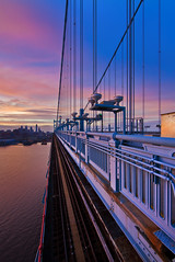 Sunset Over Philadelphia (chris lazzery) Tags: sunset philadelphia skyline newjersey cityscape pennsylvania camden benfranklinbridge benjaminfranklinbridge canonef14mmf28lii 5dmarkii