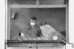 Kebab Surgeon (Le*Gluon) Tags: street bw food smoke barbecue tajikistan dushanbe coal kebab skewers surgicalmask d90 tadjikistan douchanb tamron18270