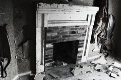 (Blurry Pixels) Tags: white black abandoned fireplace summer2012