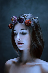 Queen of the night (laura zalenga) Tags: red woman brown cold flower ice girl beautiful beauty face night dark hair pretty mood skin calm queen shoulder 2012 crone laurazalenga chiaramonteforte