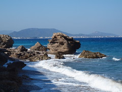 Stony Beaches in Rhodes, 3 (Axiraa - back very soon) Tags: blue sea beach water stone greek mediterranean day aegean wave clear greece rodos rhodes rand 4summer rhodos laine mesi dodecanese vahemeri rodhos δωδεκάνησα dodekánisa