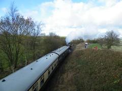 Class 8F 8624 is seen banking behind 71000 Duke of Gloucester on the extension to Cauldon Lowe, 13th Nov 2010. (Dave Wragg) Tags: train railway loco steam locomotive lms 8624 48624 cauldonlowe moorlandandcityrailways