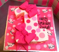 #1 shape cake iced in white butter icing, decorated with fondant Hello Kitty faces, polka dots, hot pink puffy bows (Charly's Bakery) Tags: birthday girls cake chocolate capetown novelty angels bakery charlys charleysbakery charlysbakery noveltycake wickedchocolate charliesbakery