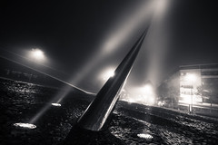 Light sculpture (Michel Couprie) Tags: city light urban sculpture mist france lamp fog night contrast canon dark eos town piotr pavement lumire sigma wideangle 7d spike pointe nuit brouillard ville brume kowalski dutc