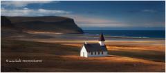 Golden Church (Dylan Toh) Tags: cloud sun beach church photography gold coast iceland ray cliffs lutheran westfjords breidavik everlook latrabjarg shiftinglight iceland2009