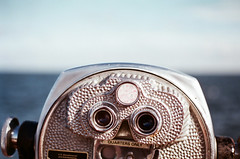 [view askew] (world wide flan) Tags: blue sky film water saint st analog 35mm canon vintage tampa lens 50mm bay fuji florida ae1 scope salt petersburg iso binoculars 400 pete fl 18 fla