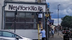 New York Nails (Martin Deutsch) Tags: road newyork london sign painting ladder e17 walthamstow