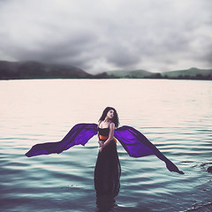 angels in storms (sparkbearer) Tags: lake water calm sunset twilight purple orange woman fineartphotography chelseaknight peaceful angels angel wings fly storm stormy dark cloudy clouds cold