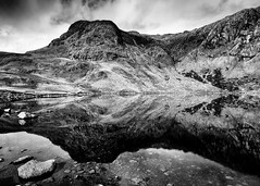 Harrison Stickle and reflection in Stickle Tarn Landscape (justinclayton99) Tags: harrison stickle pavey lake district uk england tarn reflection mirror rock rugged symmetry fuji fujifilm xt1 landscape mountains