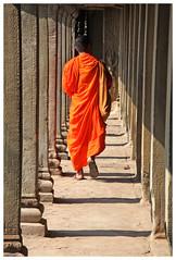 Le bonze -  The monk (diaph76) Tags: cambodge cambodia temple homme man extrieur perspective couloir corridor religion orange boudhisme