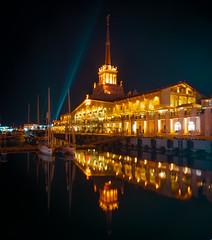 Seaport in mirror (Igor Komissarov) Tags: sochi seaport marine sea nikon dark light ray longexposure exposure abigfave