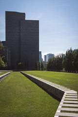 Follow the trail (Playing_with_light) Tags: downtown montreal nikon d800 metro champs de mars towers lines grass architecture