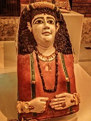 Another Vividly painted cartonnage mummy mask with dyed flax fiber hair of a woman Egypt Roman Period 1st century CE (mharrsch) Tags: death burial funeraryart gold gilded gilt cartonnage mummymask mummy egypt roman romanperiod 1stcenturyce neuesmuseum berlin germany mharrsch