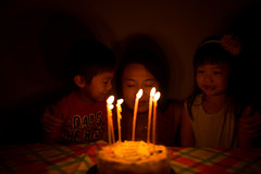 I wish for..... (hksleeper) Tags: birthday cake bokeh dof sigma3514art wideopen f14 candles lowlight children woman hongkong maonshan wukaisha happy asia canon 6d quiet party