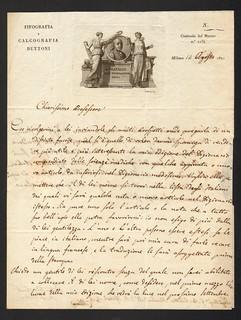 Il tipografo Bettoni di Milano a Giovanni Battista Palletta, lettera del 14 agosto 1821 (ALPE, Autografi, Bettoni b.2)