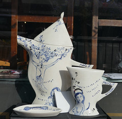 Pearls of wisdom ceramic tea service - shop window, Marlborough UK (Monceau) Tags: marlborough wiltshire uk ceramic tea service white blue pearlsofwisdom