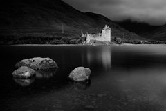 Kilchurn Castle (Andy Watson1) Tags: kilchurn castle loch awe lochawe black white blackandwhite scotland scottish highlands western uk united kingdom great britain british travel trip light shadow landscape view scenery scenic countryside rocks mountain mountains september summer canon 70d sigma reflection shallow clear shore cloud mist cloudy fog