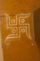 Swastika rangoli on hotel floor Lonavala India (CultureWise) Tags: swastika india symbols